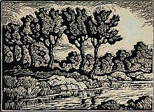 BIRGER SANDZEN (1871-1954) PENCIL SIGNED WOODBLOCK