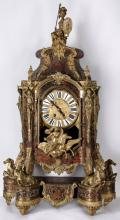 A LARGE 19TH C. FRENCH BOULLE TYPE MARQUETRY CLOCK