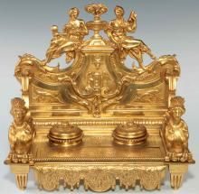 A NEO-CLASSICAL BRONZE DORE DOUBLE WELL INK STAND