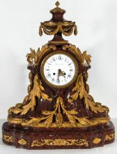 A 19THC. FRENCH LOUIS XV MARBLE CLOCK WITH BRONZE