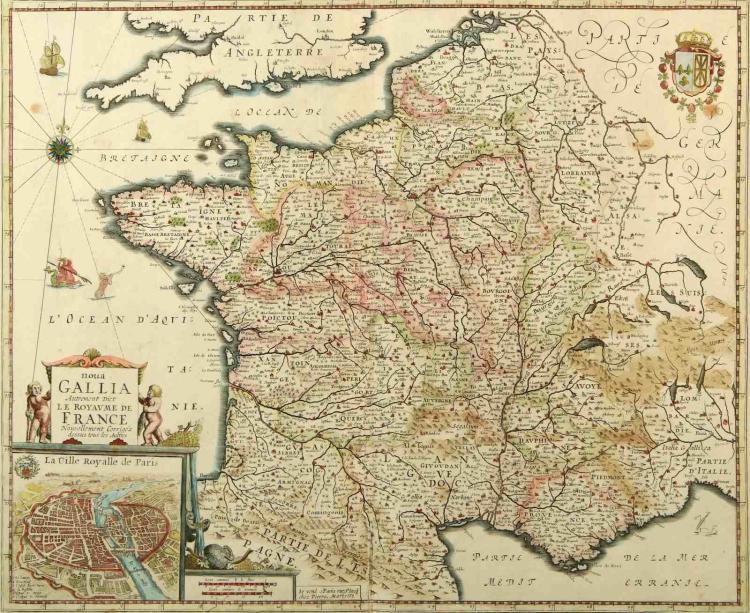 1653 PIERRE MARIETTE MAP OF FRANCE