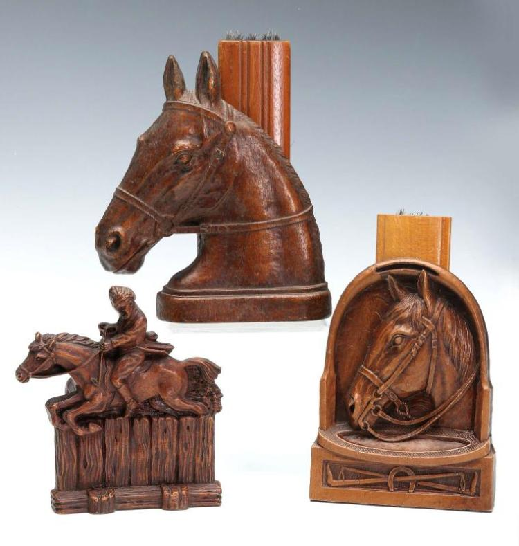 Three Equestrian Themed Syroco Wood Brush Holders
