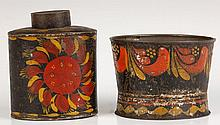 TWO PIECES 19TH CENTURY AMERICAN TOLE