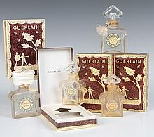 FOUR GUERLAINE L'HEURE BLEUE BOXED PERFUME BOTTLES