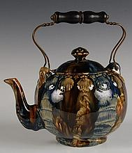 YELLOW WARE TEA POT WITH EMBOSSED SHELL DECORATION