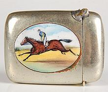 C. 1900 MATCH SAFE COPPER ENAMEL THOROUGHBRED RACE HORSE