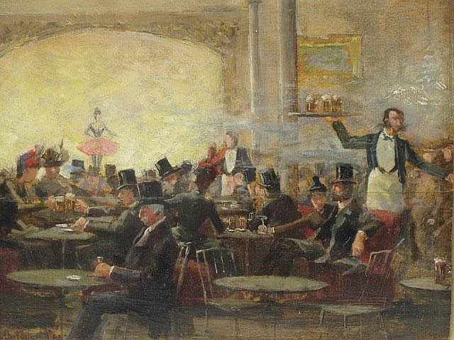 CAFÉ CHANTANT 1860'S PARIS PAINTING BY R.O. ANTHONY