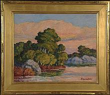 BIRGER SANDZEN (1871-1954) OIL ON PANEL