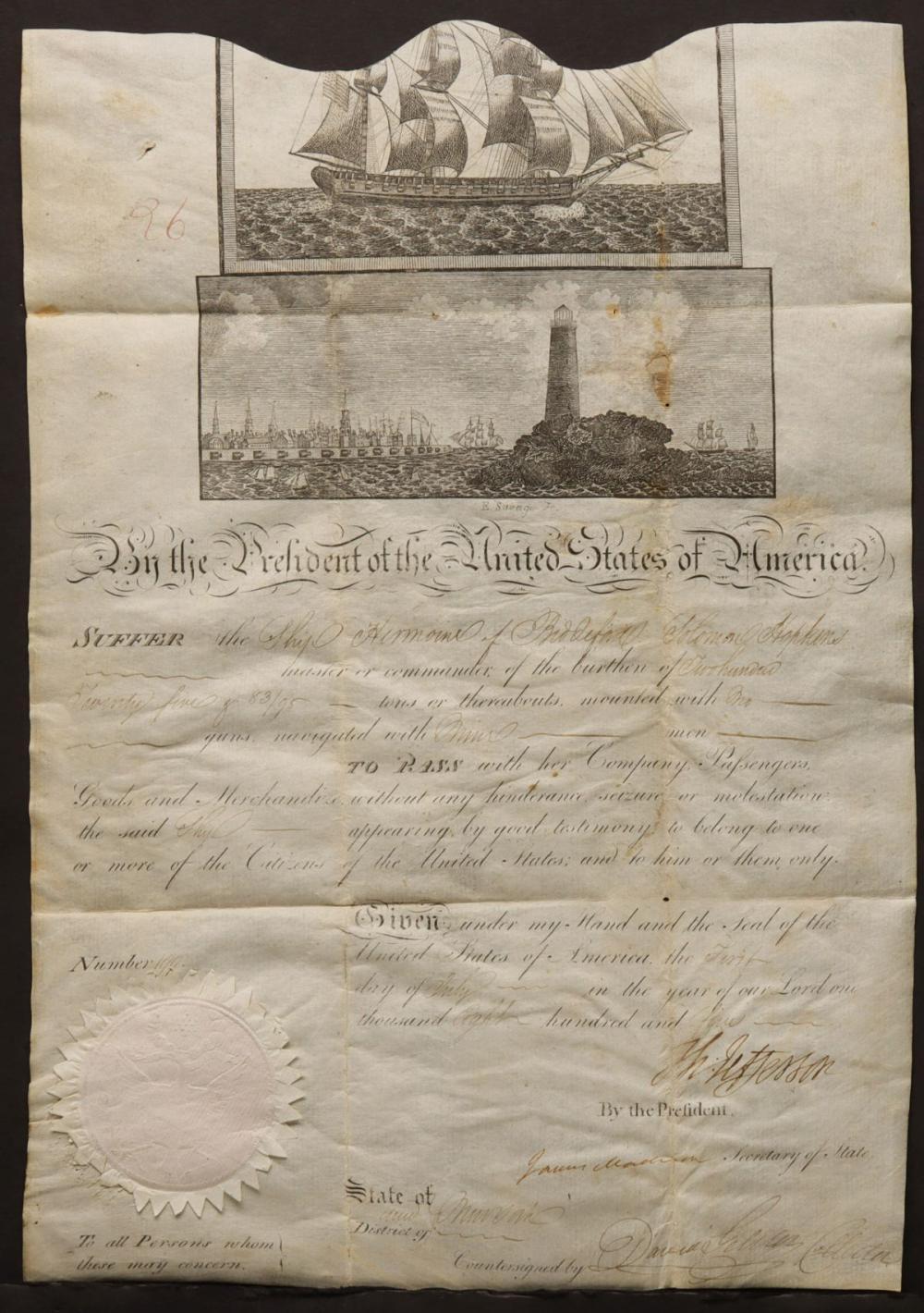 AN 1805 SHIP PASSPORT SIGNED BY JEFFERSON & MADISON