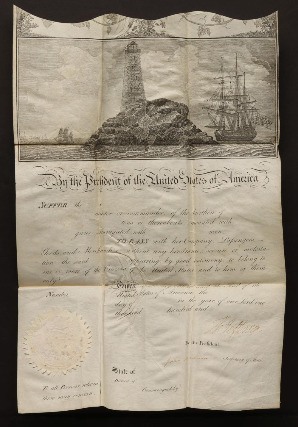 A SEA PASSPORT SIGNED THOMAS JEFFERSON & MADISON