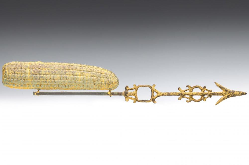 A SCARCE PAINTED FIGURAL EAR OF CORN WEATHER VANE