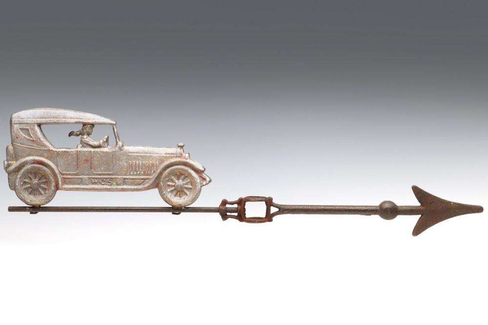 A W.C. SHINN LIGHTNING ROD WEATHER VANE WITH AUTO