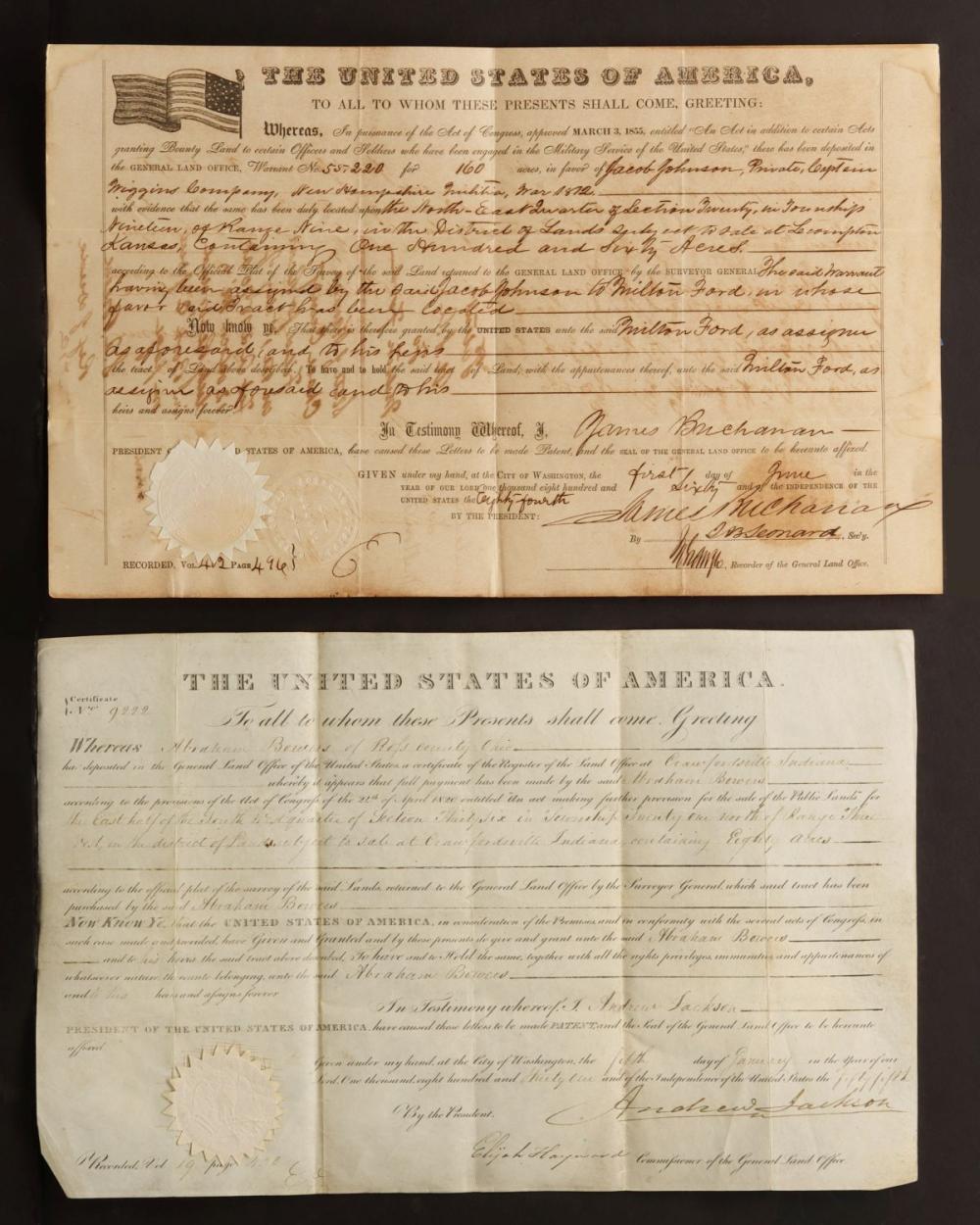 JACKSON AND BUCHANAN PRESIDENT SIGNED LAND GRANTS