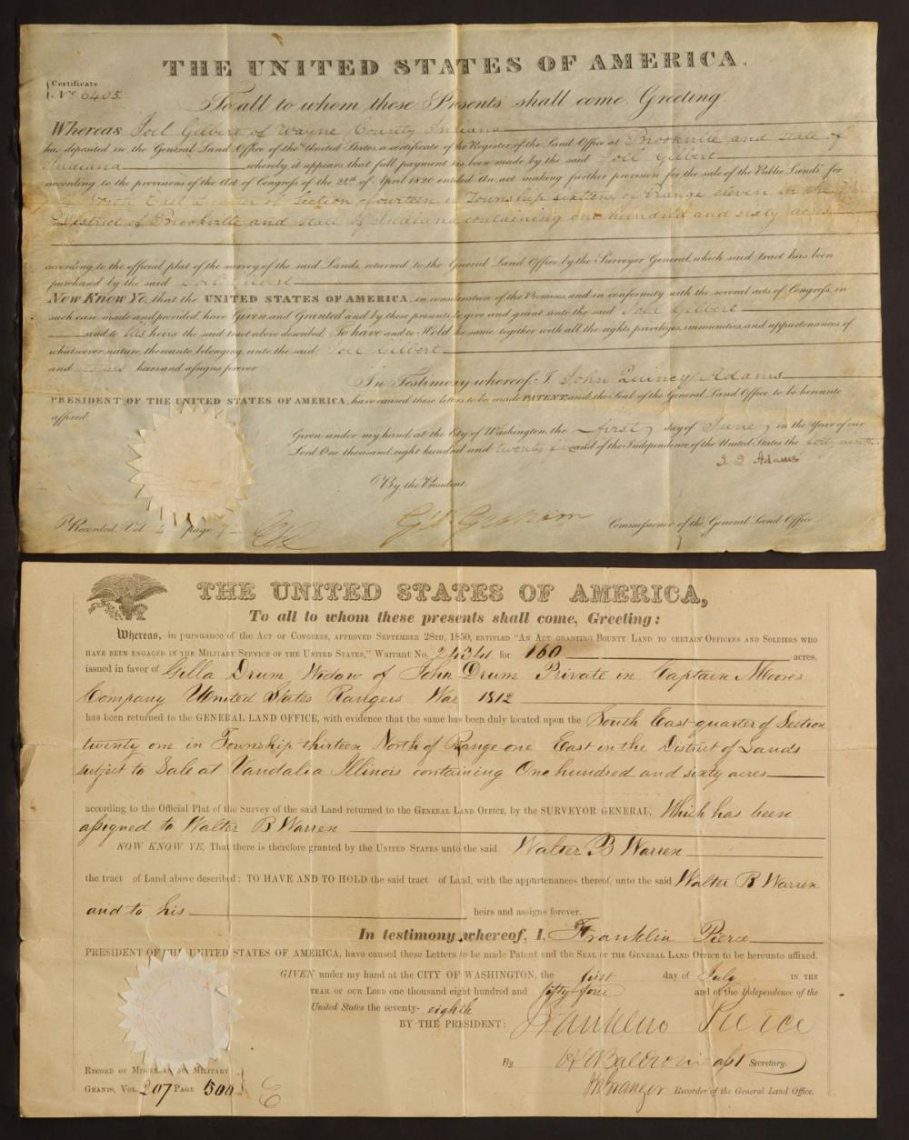 LAND GRANTS FROM ADAMS AND PIERCE ADMINISTRATIONS