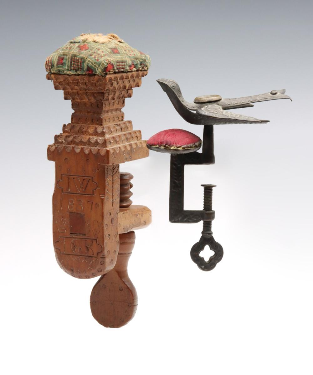 AN 1837 CHIP CARVED AND DECORATED PA SEWING CLAMP