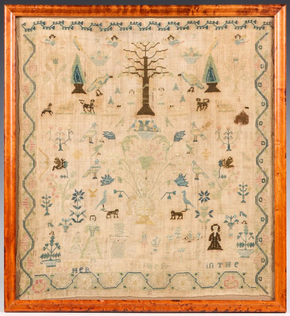 A 1774 CROSS STITCH SAMPLER WITH ADAM, EVE AND ANGELS