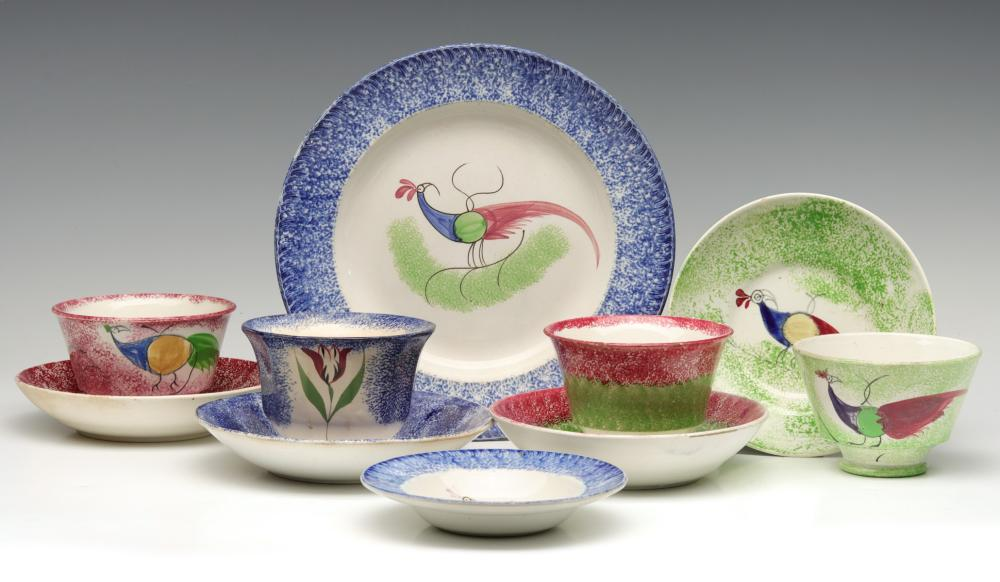 A VARIED COLLECTION OF 19TH C. SPATTERWARE