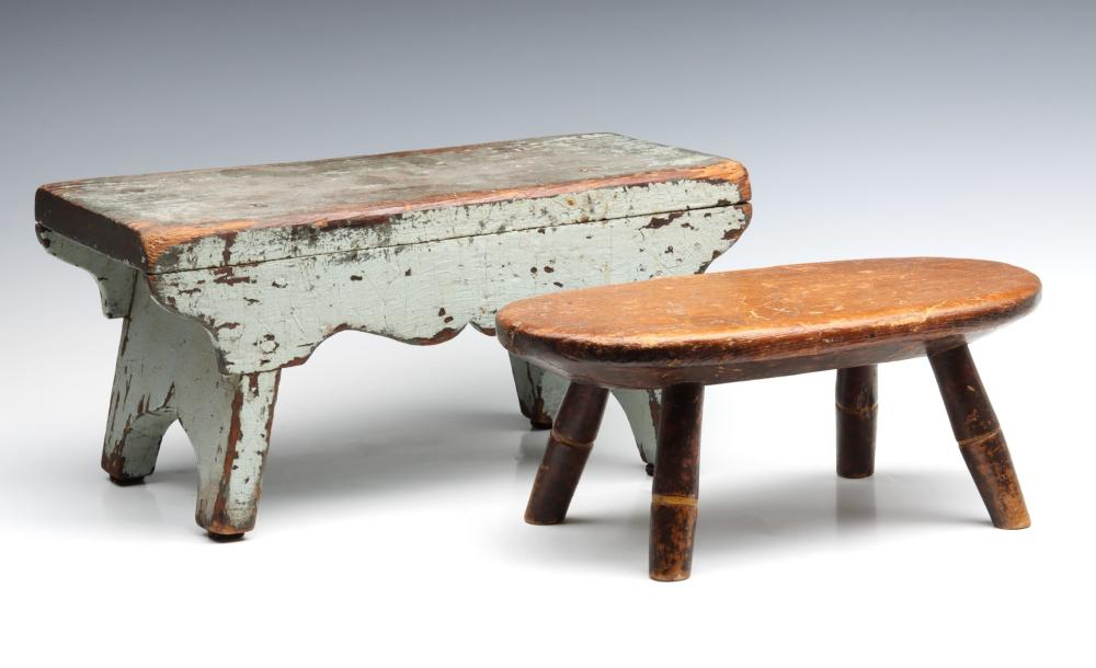 TWO LATE 19TH C. CRICKET STOOLS WITH OLD PAINT
