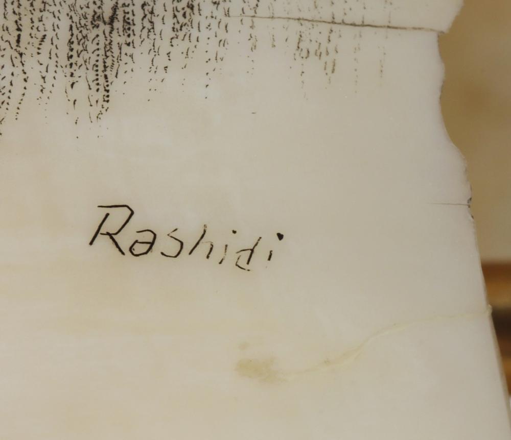 TWO LATE 20C SCRIMSHAW WHALE'S TEETH SIGNED RASHIDI