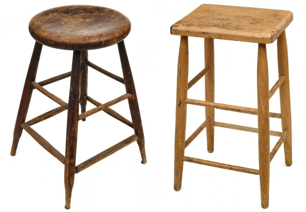 TWO TALL WINDSOR STYLE STOOLS INCL 19TH CENTURY
