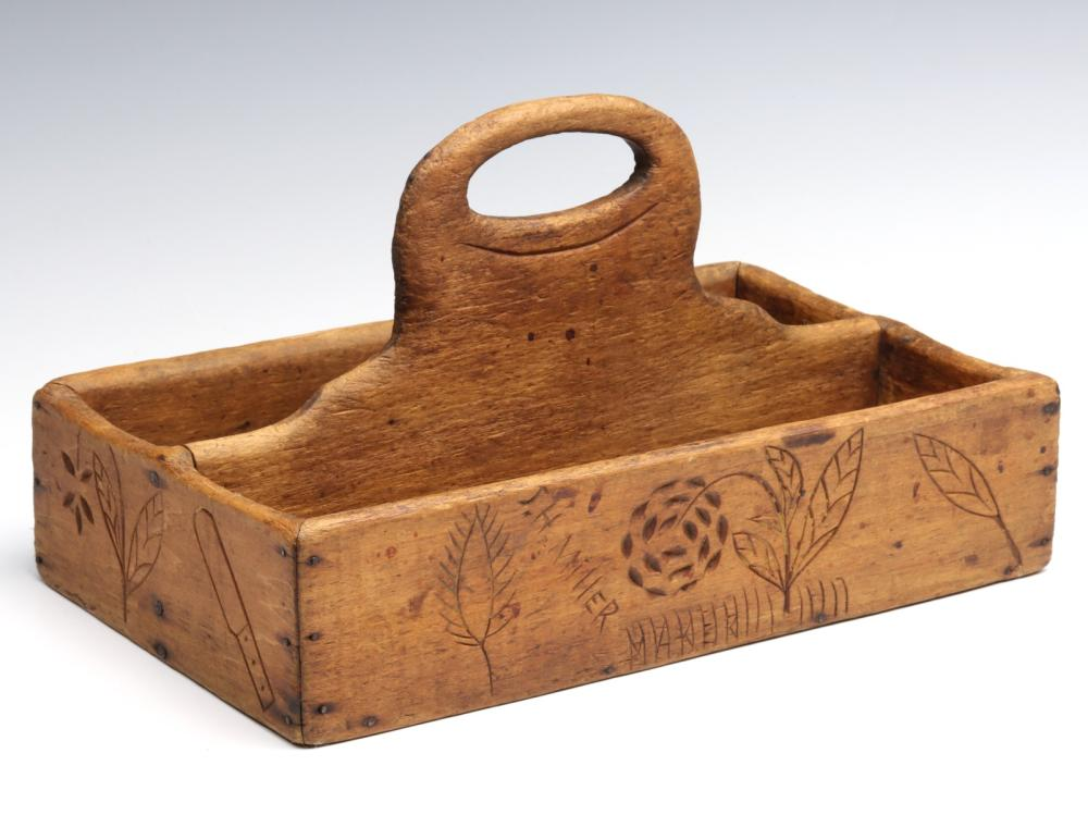 A 19TH C WOOD CUTLERY TRAY WITH ETCHED DECORATION