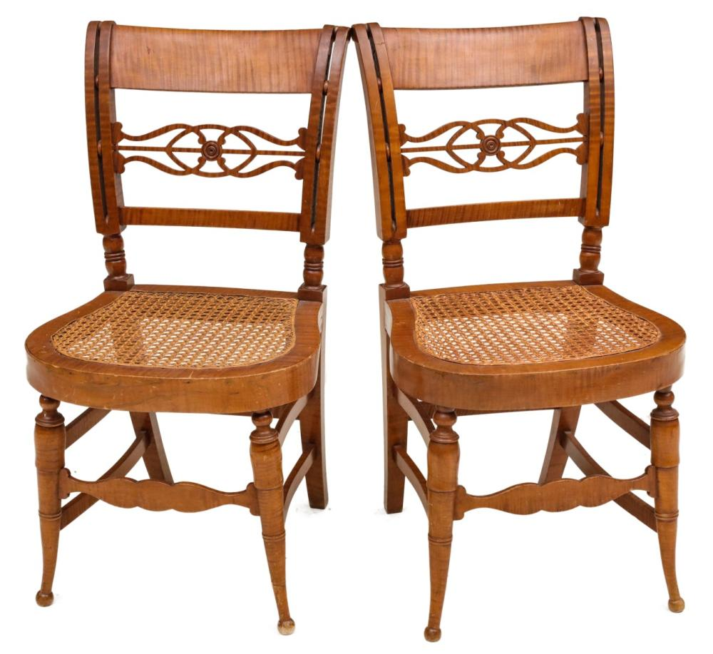 A PAIR SHERATON 19TH C. TIGER MAPLE SIDE CHAIRS