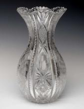 AN ABP CUT GLASS 'BOWLING PIN' VASE SIGNED LIBBEY
