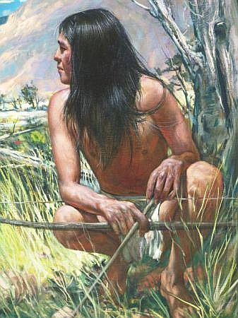 OIL ON CANVAS OF UTE WARRIOR BY RAMON RICE