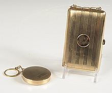 GOLD FILLED ELGIN AMERICAN COMPACT, PLUS A VANITY CASE