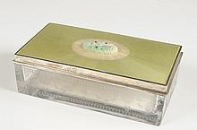 PICARD GUILLOCHE & STERLING DRESSER BOX WITH JADE