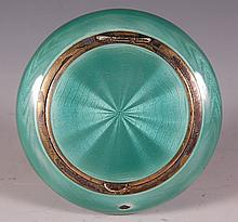 STERLING AND GREEN GUILLOCHE COMPACT