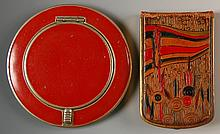 RED ENAMEL CORO & MONDAINE LEATHER COVERED COMPACTS