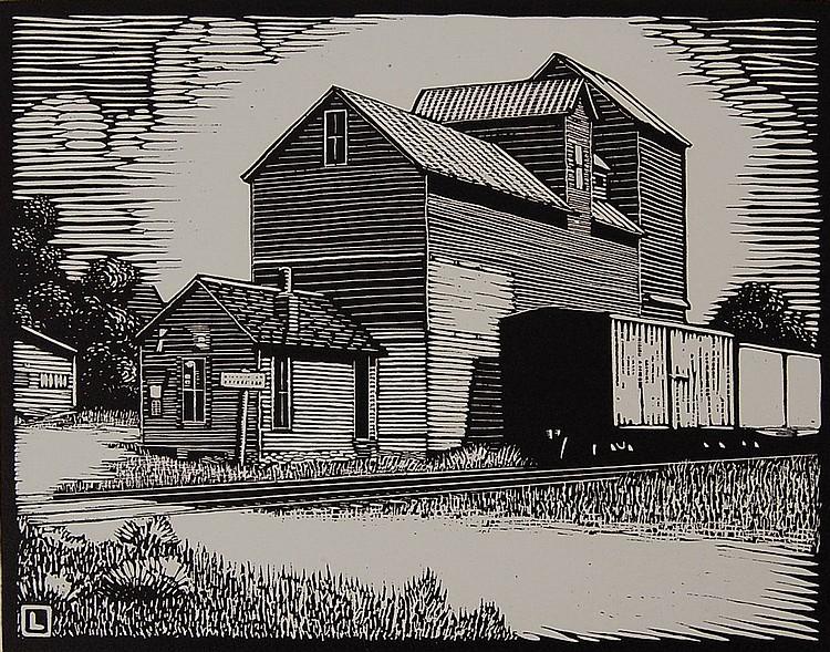 HERSCHEL C. LOGAN (1901-1987) PENCIL SIGNED BLOCK PRINT