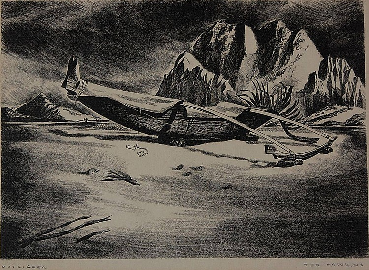TED HAWKINS (1910-1969) PENCIL SIGNED LITHOGRAPH