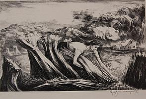 PEPPINO MANGRAVITE (1896-1978) PENCIL SIGNED LITHOGRAPH
