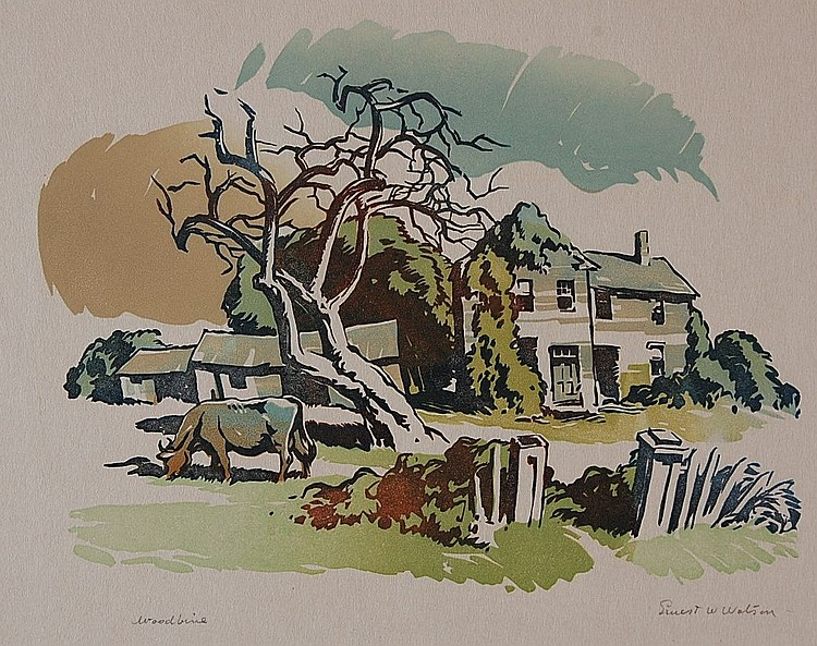 ERNEST W. WATSON (1884-1969) PENCIL SIGNED BLOCK PRINT