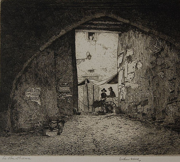 ARTHUR HALL (1889-1981) PENCIL SIGNED DRYPOINT ETCHING