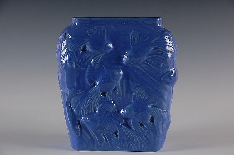 UNUSUAL POTTERY VASE COPY OF CONSOLIDATED TROPICAL FISH VASE