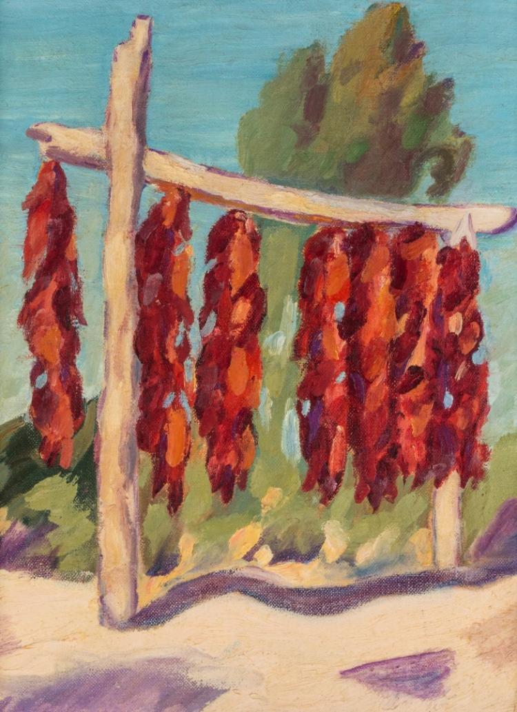 HALPIN GILBERT (1882-1973) 1938 SANTA FE OIL CANVAS