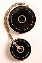 STERLING & ENAMEL COMPACT WITH ROUGE FOB