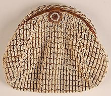 VINTAGE WHITE AND GOLD BEADED CLUTCH PURSE