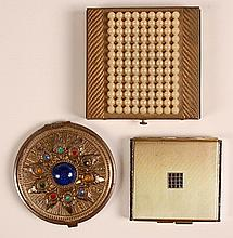 THREE VINTAGE COMPACTS WITH JEWELS