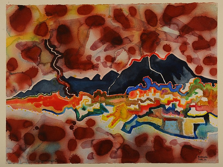 KEITH CROWN (1918-2010) ABSTRACT WATERCOLOR, TAOS NM