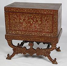 LATE 19TH C. BRITISH COLONIAL RED LACQUER CHEST ON STAND
