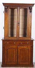 19TH CENTURY ENGLISH MAHOGANY TWO DOOR DISPLAY CABINET