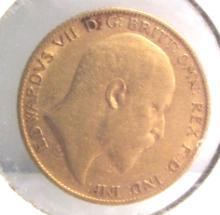 1908 BRITISH 1/2 POUND GOLD SOVERIGN COIN