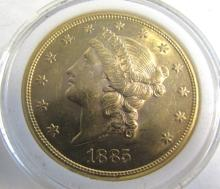 1885 S LIBERTY 20 DOLLAR GOLD COIN UNC