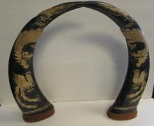 BUFFALO HORNS WITH APPLIED SNAKE SKIN