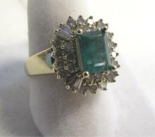 GENUINE EMERALD & DIAMOND RING 14K