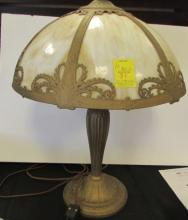 VICTORIAN SLAG STAINED GLASS LAMP 6 PANEL